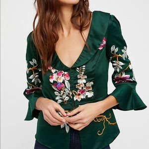 Free People Emerald Green Embroidered Deep V Top